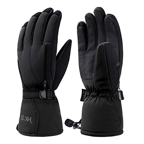 Kineed Skihandschuhe Herren Wasserdicht Winterhandschuhe Warm 3M Thinsulate Snowboardhandschuhe Winter Schnee Handschuhe Thermo Winddicht Schwarz L