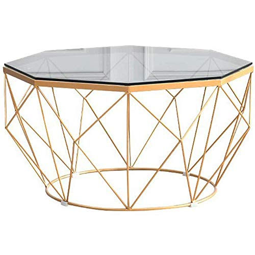 Modern Side Table/Coffee End Table Octagon Tempered Glass & Gold Solid Metal Frame Sofa End Dining Table for Living Room/Balcony Or Home,77 cm
