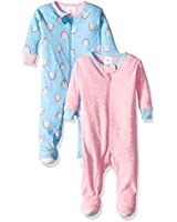 GERBER Baby Girls 2-Pack Footed Unionsuit, Rainbow, 6 Months