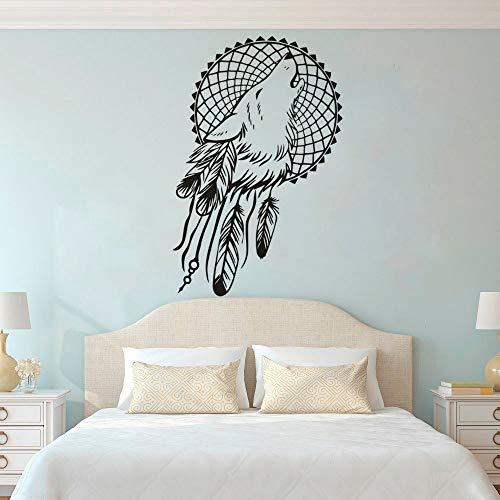 LSMYE Boho Style Dreamcatcher Wallpaper Wolfskopf Traumfänger Wandfeder Dreamcatcher Schlafzimmer Kopfteil Dekor gelb 57X87cm