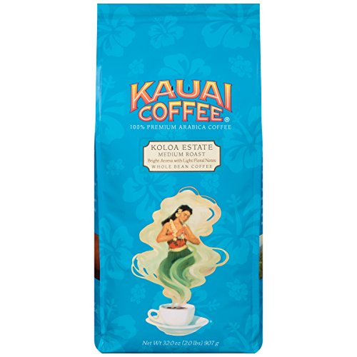 Kauai Whole Bean Coffee, Koloa Estate Medium Roast – 100% Premium Arabica Whole Bean Coffee from Hawaii's Largest Coffee Grower - Bright Aroma with Light Floral Notes (32 Ounces)
