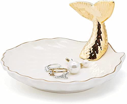 Jojuno Fish Tail Ring Holder Dish Ceramic Jewelry Pate Decor Dish Jewelry Organizer, 4.3in x 3.5in