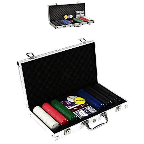 SONLEX Pokerkoffer mit 300 500 Pokerchips abschließbar Pokerkarten Zubehör Deluxe Pokerset Casino Aluminium Chipsanzahl wählbar (300 Chips)