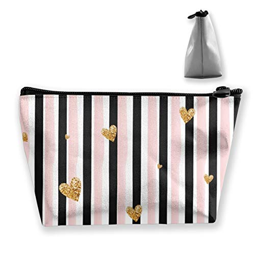 Multi-Functional Print Trapezoidal Storage Bag for Female Golden Hearts Vertical Stripes Background