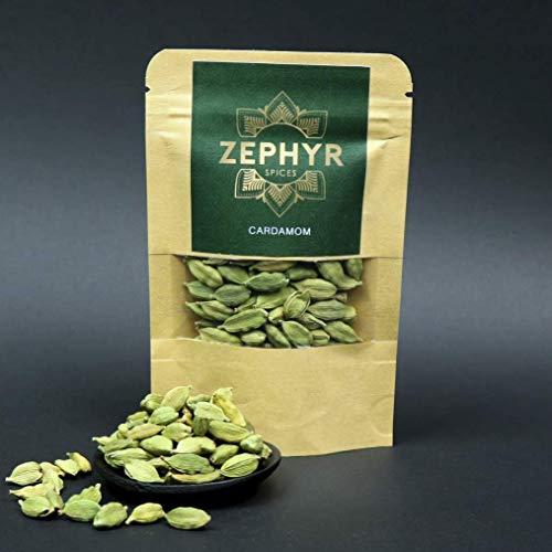 Cardamomo verde Zephyr, bacelli interi, 20 grammi, confezione ecologica, busta richiudibile
