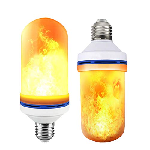 6W E26 LED Flame Effect Light Bulb - 4 Modes Fire Flickering Bulbs for Christmas Decoration Atmosphere Lighting (2 Pack)