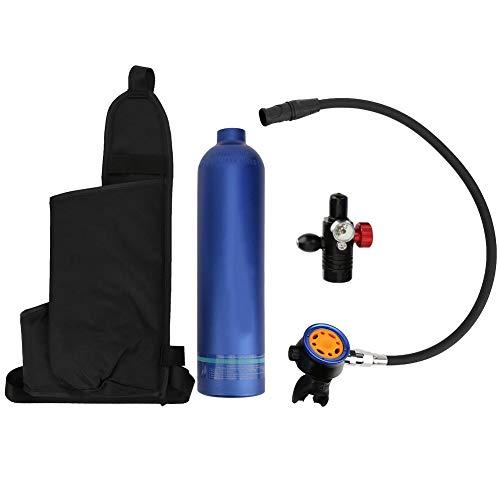 DSJSP Equipo de Tanque de Buceo, 1L Buceo Buceo Tanque de Aire Azul vacío Cilindro de oxígeno de Aluminio con válvula de respiración Secundaria de Metal