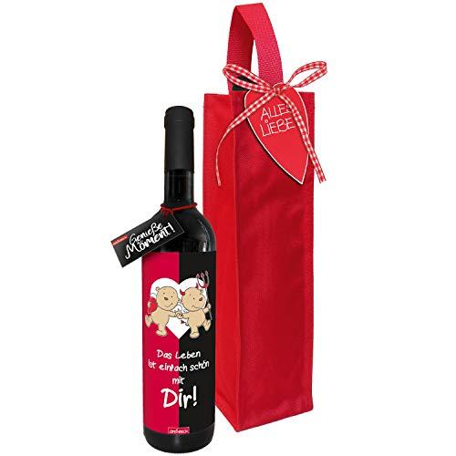 STEINBECK Wein Liebe Geschenk trockener Rotwein aus Spanien 100% Tempranillo Valdepenas mit Flaschentasche Engel Teufel Das Leben ist schön mit dir