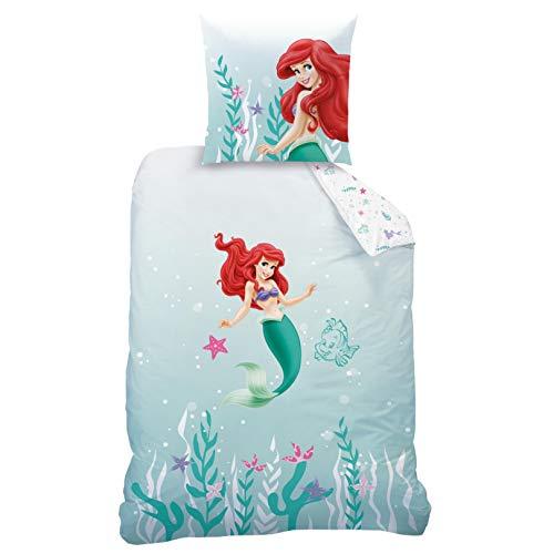 CTI Arielle Meerjungfrau Bettwäsche Bettbezug 135x200 80x80 Baumwolle · Kinderbettwäsche für Mädchen Disney Prinzessin Mermaid · 2 teilig · 1 Kissenbezug 80x80 + 1 Bettbezug 135x200 cm