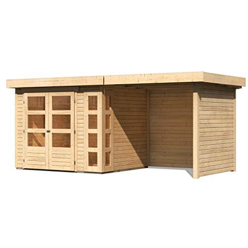 Woodfeeling 19 mm Gartenhaus Kerko-3 (naturbelassen 240 cm Schleppdach mit Rück- und Seitenwand)