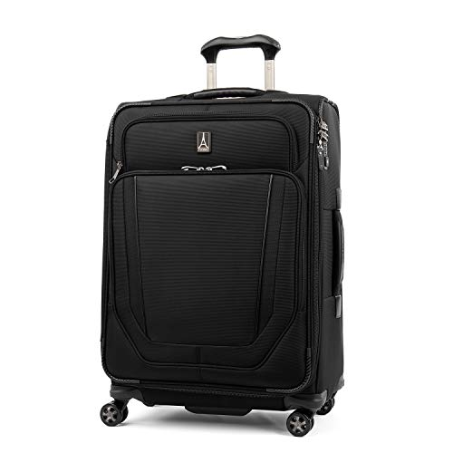 Travelpro Crew Versapack-Softside Expandable Spinner Wheel Luggage, Jet Black, Checked-Medium 25-Inch