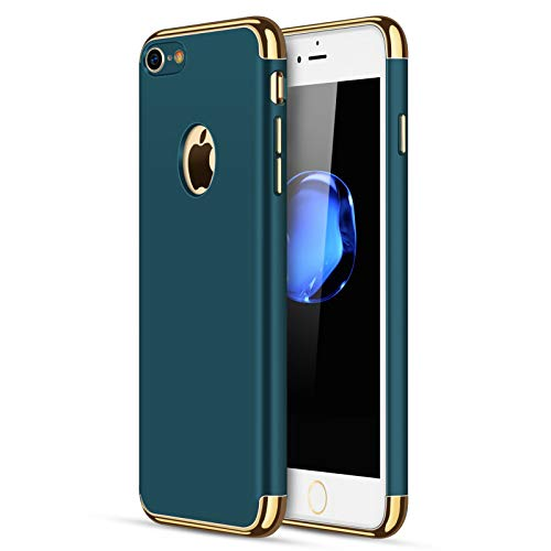 iPhone 7/8 Case, CROSYMX 3 in 1 Ultra Thin and Slim Hard Case Coated Non Slip Matte Surface with Electroplate Frame for Apple iPhone 7/8 (4.7'') - Dark Green