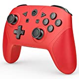 Game Controller Compatible with Switch and Switch Lite, Wireless Pro Controller Gamepad Remote Joystick with NFC, Wakeup, Turbo, Dual Vibration and Motion Control Function (Red)