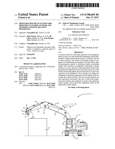 Operation resume functions for implement control systems and methods utilizing relative positioning: United States Patent 9790695 (English Edition)