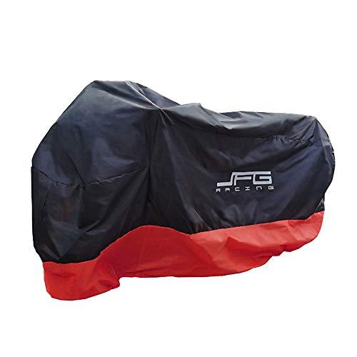 JFG RACING Cubierta de motocicleta, cubierta de moto impermeable al aire libre grande resistente Oxford tela cubierta de motocicleta, negro rojo -L
