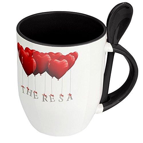 digital print Namenstasse Theresa - Löffel-Tasse mit Namens-Motiv Herzballons - Becher, Kaffeetasse, Kaffeebecher, Mug - Schwarz