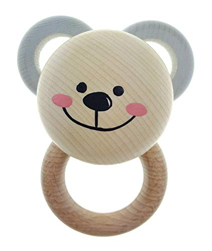 Hess Spielzeug Hochet en bois Ours hochet bébé, naturel