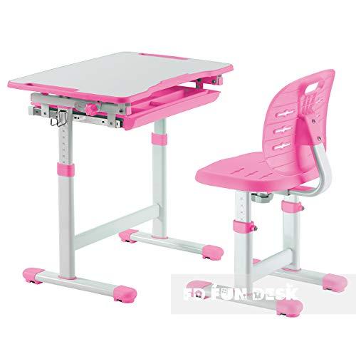 FD FUN DESK Piccolino III Pink Kinderschreibtisch neigungsverstellbar, Schülerschreibtisch höhenverstellbar, Schreibtisch mit Stuhl, Rosa, 664x474x540-760 mm