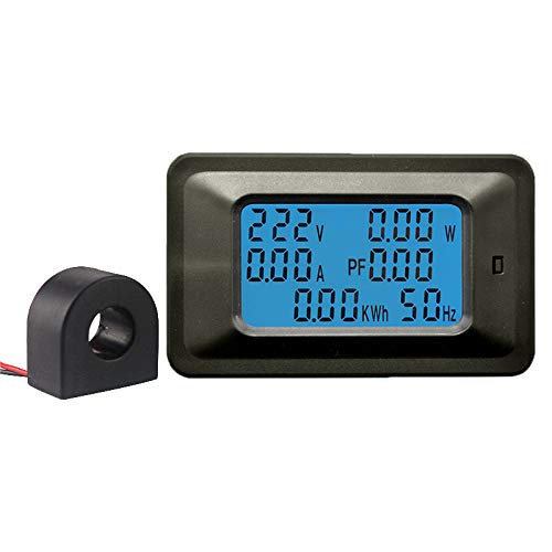 KETOTEK Voltimetro Amperimetro Digital Multimetro Probador de voltaje Carril din Amperímetro Digital 220V 110V ~ 250V 100A Medidor de potencia Voltímetro Volt Amp LCD Probador del voltímetro (100 A)