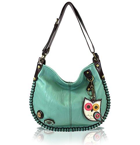 CHALA Crossbody Handbag, Hobo Style, Casual, Soft, Large Bag Shoulder or Crossbody (Owl-Teal Handbag)