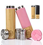 The Chemists M&R Set (2 Pack) Bamboo Tea Tumbler | 19oz with Tea Infusers & Tea Strainer Bundle with Bamboo Travel Mug | 19oz Suitable As a Coffee Mug, Tea Mug With Flip Lid. (Pink set)