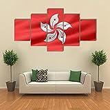 ARIE 5 Teiliges Wandbild Flagge Der Verwaltungsregion Hongkong Hd Gedruckt 5 Stücke Leinwand Malerei Wandkunst Wohnzimmer Wohnkultur Weihnachten Kreative Geschenke