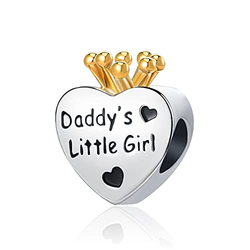 DWJSu Daddy's Little Girl Pink Crystal Princess Crown Heart Charm for Charms Necklace Bracelet for Girls