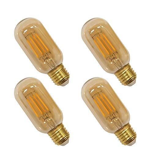 Vintage T45 4W LED Edison Filament Glühbirne Lampen E27 Fadenlampe Glühfaden Leuchtmitte, 4er COB LED Faden und Retro Glas Lampenschirm, Warmweiß 2400K, 4er Pack von Enuotek