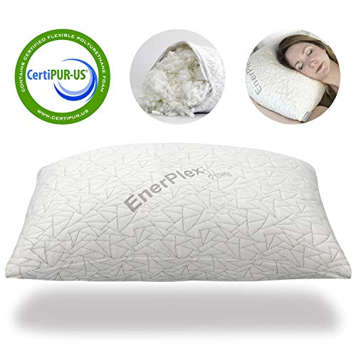 EnerPlex CertiPUR-US Certified Never-Flat Luxury Memory Foam Queen Pillow Shredded Bed Cooling Adjustable Loft Fully Machine Washable Removable Bamboo Cover 30x20 5-Year Warranty(Queen)