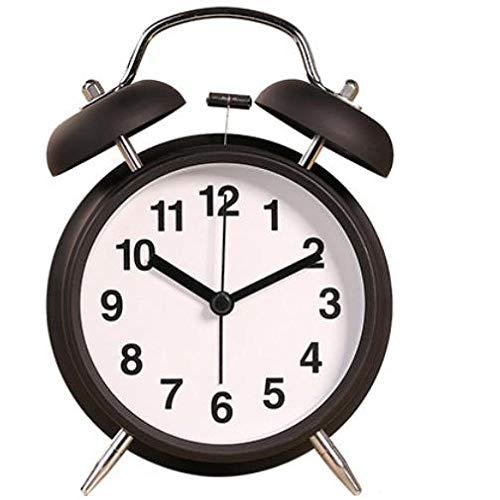 GYHJG Despertador De Campana Doble Clásico Vintage De 4 Pulgadas con Pilas, Reloj Despertador Mecánico con Dial Estéreo, Luz Nocturna, Controlador De Cuarzo, Sin Ticks Y Ruido (Negro)
