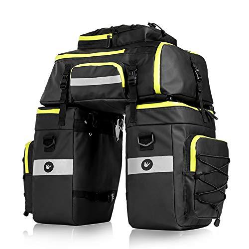 BAIGIO Bolsa Bicicleta, 3 in 1 Alforja Maletero Impermeable, 3 Compartimentos para Portaequipajes Asiento Trasero de Bicicleta de Carretera, Juego de Bolsas para Bcicleta Pannier (Verde)