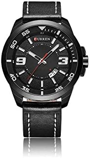 CURREN Watch Black Leather and Black frame Model M8213