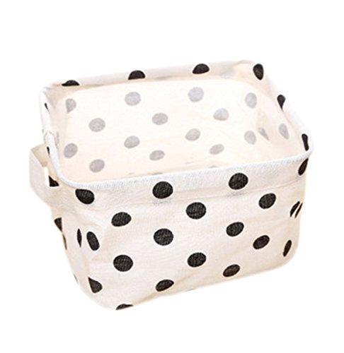 Dosige wasmand van stof voor opslag in de lade van de kledingkast, opvouwbare kledingkast, speelgoed, opbergdoos, vierkant, comfortabel voor ondergoed, lingerie, panty's, afmetingen 20 x 17 x 12,5 cm (wit3)