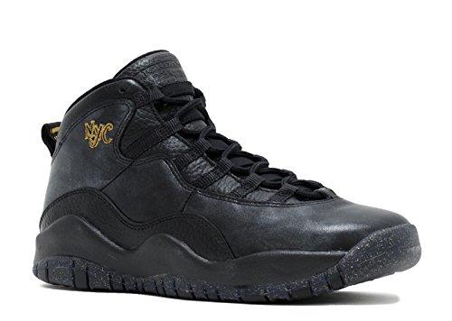 Jordan Nike Kids' Air 10 Retro Black Leather Basketball Shoe 5