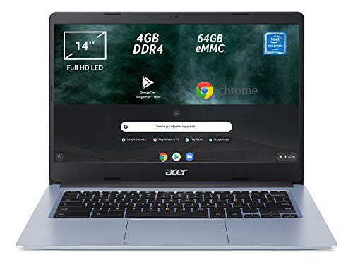 Acer Chromebook 314 CB314-1H-C2W1 Notebook, Pc Portatile con Processore Intel Celeron N4000, Ram 4GB DDR4, eMMC 64GB, Display 14' Full HD LED LCD, Scheda Grafica Intel UHD 600, Google Chrome, Silver