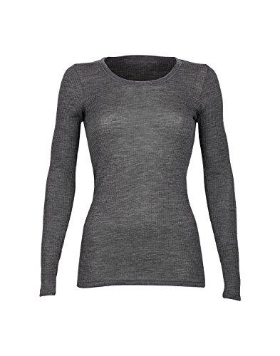 DILLING Rippshirt für Damen aus 100% Bio-Merinowolle Dunkelgrau meliert 44