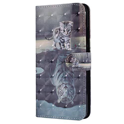 Herbests Kompatibel mit Xiaomi Redmi Note 5A Lederhülle Bling Glitzer Niedlich Bunt Muster Hülle Leder Tasche Klapphülle Schutzhülle Flip Hülle Cover Handytasche,Katze Tiger