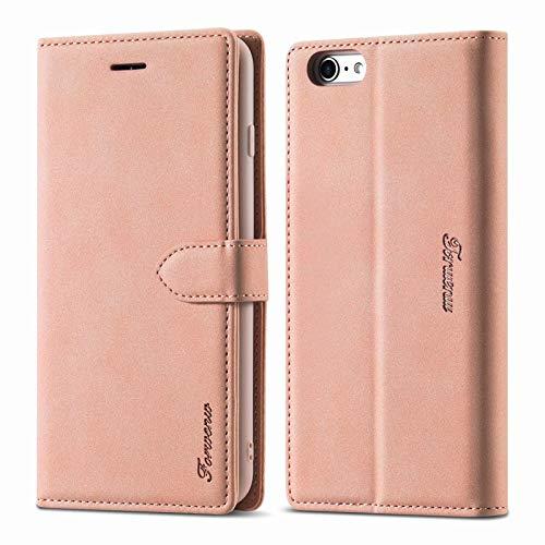 LOLFZ Hülle für iPhone 6, für iPhone 6S Handyhülle, Premium Leder Handyhülle mit Kartenfach Ständer Magnetische Schutzhülle Kompatibel mit iPhone 6/6S - Rosegold