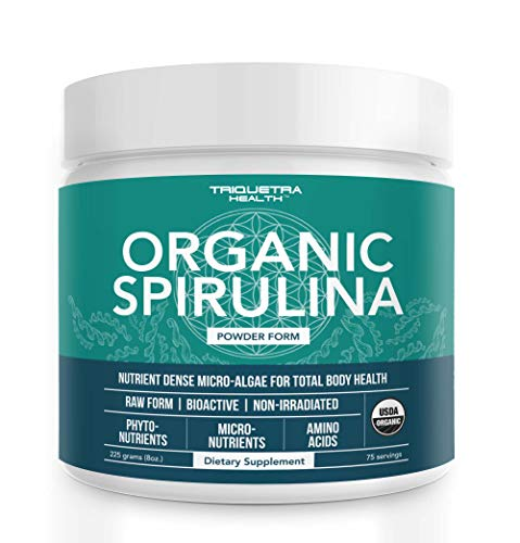 Organic Spirulina Powder: 4 Organic Certifications - Certified Organic by USDA, Ecocert, Naturland & OCIA - Vegan Farming Process, Non-Irraditated, Max Nutrient Density (8 oz.)