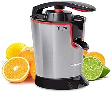 Mellerware - exprimidor eléctrico naranjas, acero inoxidable 160 W - exprimidor de zumos eléctrico con sistema anti goteo - 2 conos , exprimidor naranjas profesional