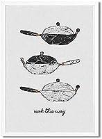キッチンウォールアート食器ポットキャンバス絵画北欧ポスタープリントモダンキッチン引用壁写真モダンダイニングルーム家の装飾40x60cmフレームなしZ32