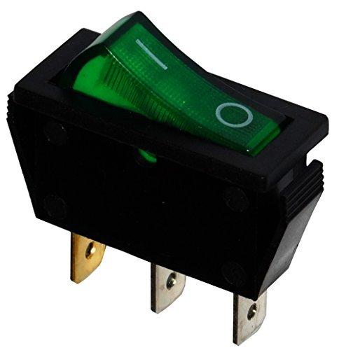 Aerzetix - Unterbrecher, Schalter Knopfschalter Switch Kippschalter SPST ON-OFF 15A/250V Grün 2 Positionen