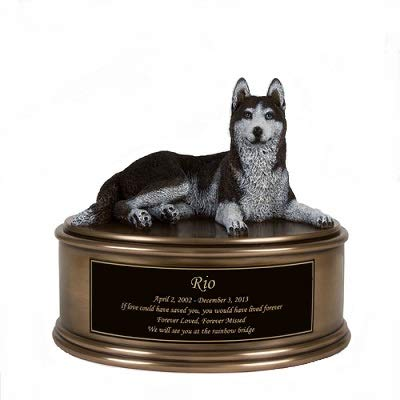 Perfect Memorials Custom Engraved Husky Figurine Urn