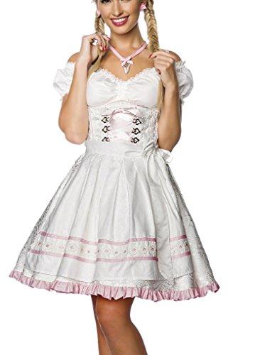 Dirndl Kleid Kostüm mit Schürze Minidirndl mit Blumenborteen Brokat und ausgestelltem Rockteil Oktoberfest Dirndl weiß XXL