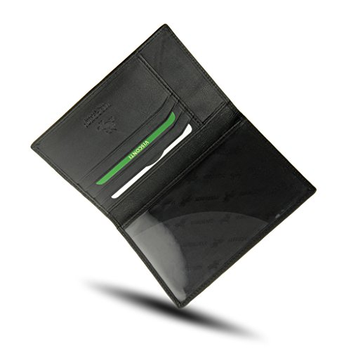 Visconti Soft Leather Secure RFID Blocking Passport Cover Wallet - POLO 2201, Black, One Size
