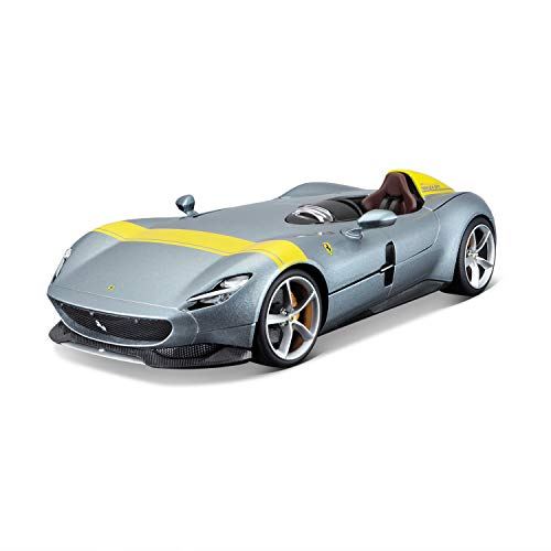 Bburago Ferrari Monza SP1: Modellauto im Maßstab 1:18, Ferrari Race & Play Serie, Kofferraum und Motorhaube zum Öffnen, lenkbar, 24 cm, grau (18-16013)