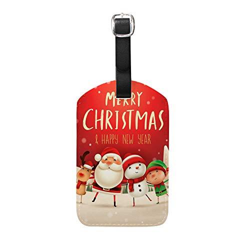 Etiquetas de Cuero para Equipaje de Chehong, con Texto en inglés Merry Christmas, para Mujeres y Hombres, Etiquetas para Maletas, Etiquetas para Bolsa de Equipaje, Tarjeta identificativa, 1 Unidad