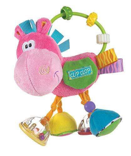 Playgro Sonajero Multiactividades Caballo, Desde los 3 Meses, Sin BPA, Playgro Toy Box Pferd Clip Clop, Rosa/Multicolor, 40143