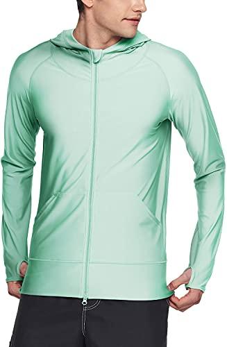 TSLA Camiseta de manga larga con protección solar UPF 50+ para hombre, con cremallera frontal, rendimiento UV/SPF, ligera, para correr y pescar., Hombre, Msz05 1pack - Mint, medium