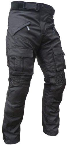 HEYBERRY Sportliche Motorrad Hose Motorradhose Schwarz mit Oberschenkeltaschen Gr. XL